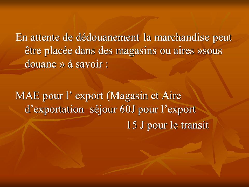 En attente de dédouanement la marchandise peut être placée dans des magasins ou aires »sous douane » à savoir : MAE pour l export (Magasin et Aire dex