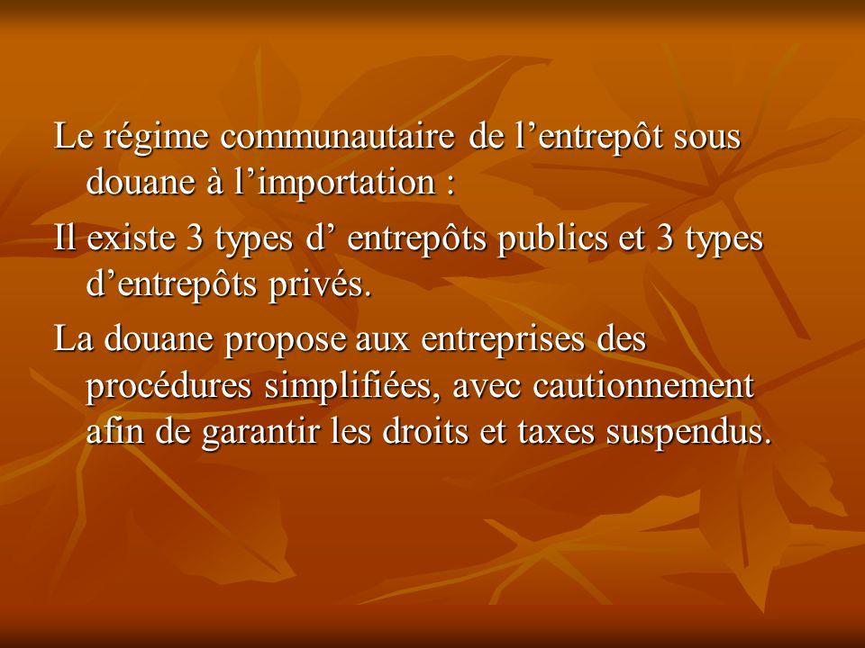 Le régime communautaire de lentrepôt sous douane à limportation : Il existe 3 types d entrepôts publics et 3 types dentrepôts privés. La douane propos