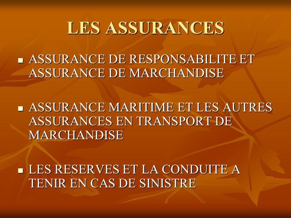 LES ASSURANCES ASSURANCE DE RESPONSABILITE ET ASSURANCE DE MARCHANDISE ASSURANCE DE RESPONSABILITE ET ASSURANCE DE MARCHANDISE ASSURANCE MARITIME ET L