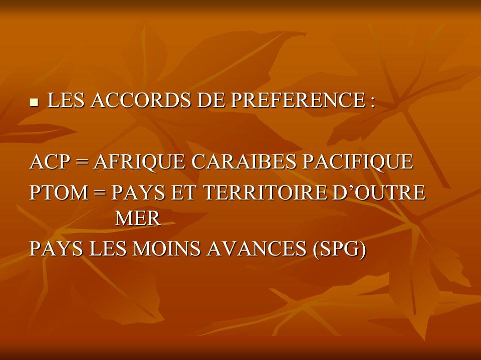 LES ACCORDS DE PREFERENCE : LES ACCORDS DE PREFERENCE : ACP = AFRIQUE CARAIBES PACIFIQUE PTOM = PAYS ET TERRITOIRE DOUTRE MER PAYS LES MOINS AVANCES (
