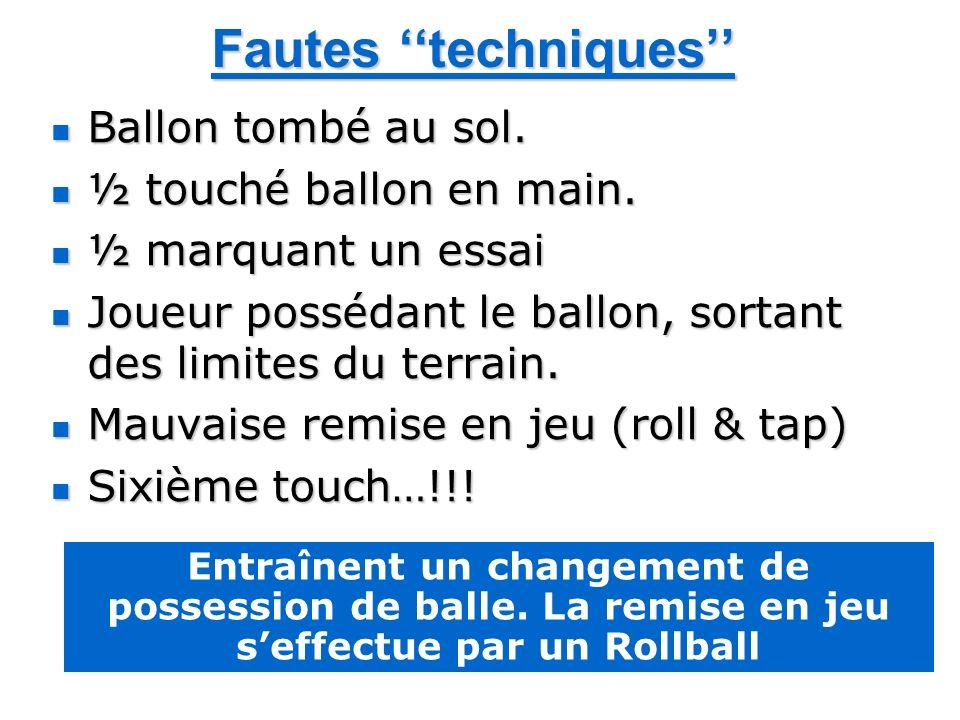 Fautes techniques Ballon tombé au sol. Ballon tombé au sol. ½ touché ballon en main. ½ touché ballon en main. ½ marquant un essai ½ marquant un essai