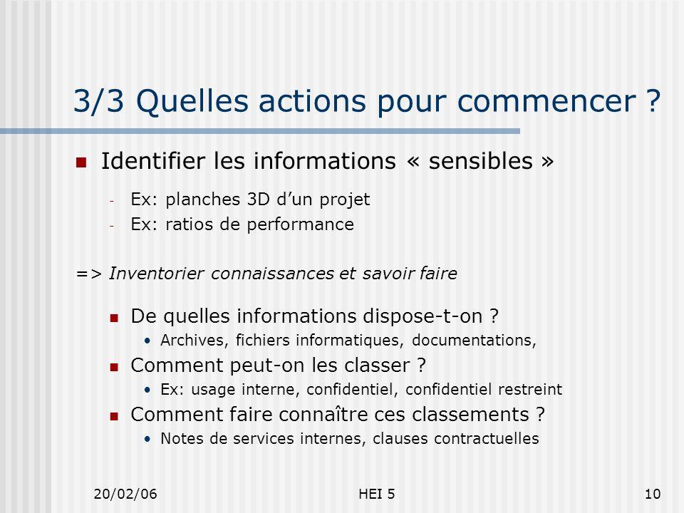 20/02/06HEI 510 3/3 Quelles actions pour commencer .