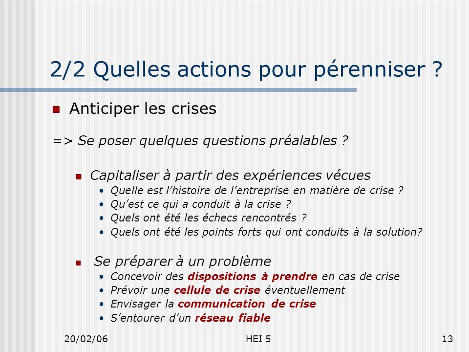 20/02/06HEI 513 2/2 Quelles actions pour pérenniser .