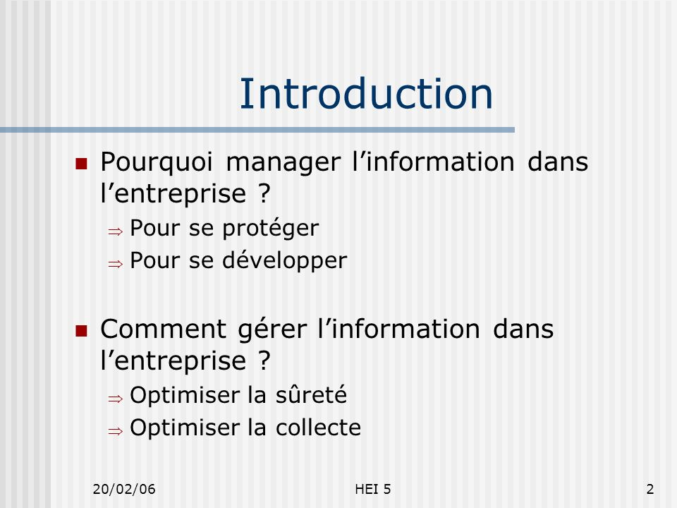 20/02/06HEI 52 Introduction Pourquoi manager linformation dans lentreprise .