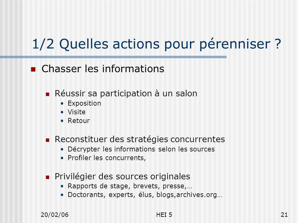 20/02/06HEI 521 1/2 Quelles actions pour pérenniser .