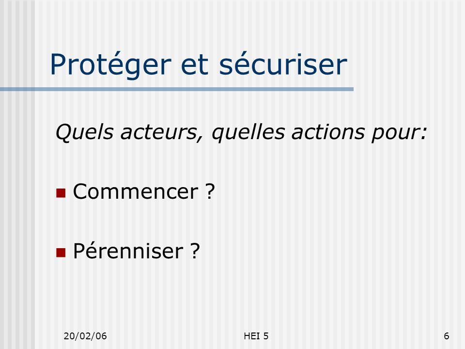 20/02/06HEI 56 Protéger et sécuriser Quels acteurs, quelles actions pour: Commencer ? Pérenniser ?