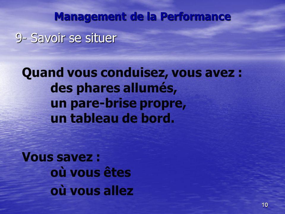 10 Management de la Performance 9- Savoir se situer Quand vous conduisez, vous avez : des phares allumés, un pare-brise propre, un tableau de bord. Vo