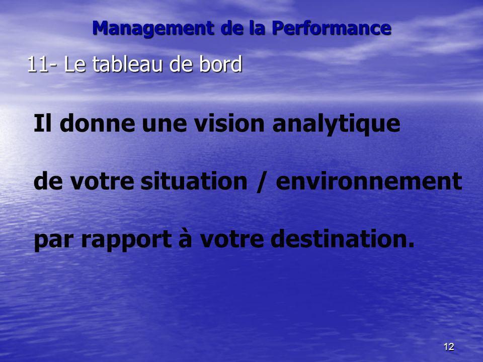 12 Management de la Performance 11- Le tableau de bord Il donne une vision analytique de votre situation / environnement par rapport à votre destinati