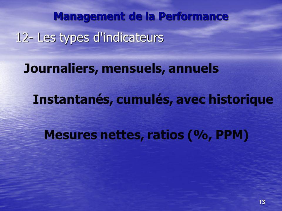 13 Management de la Performance 12- Les types d'indicateurs Journaliers, mensuels, annuels Mesures nettes, ratios (%, PPM) Instantanés, cumulés, avec