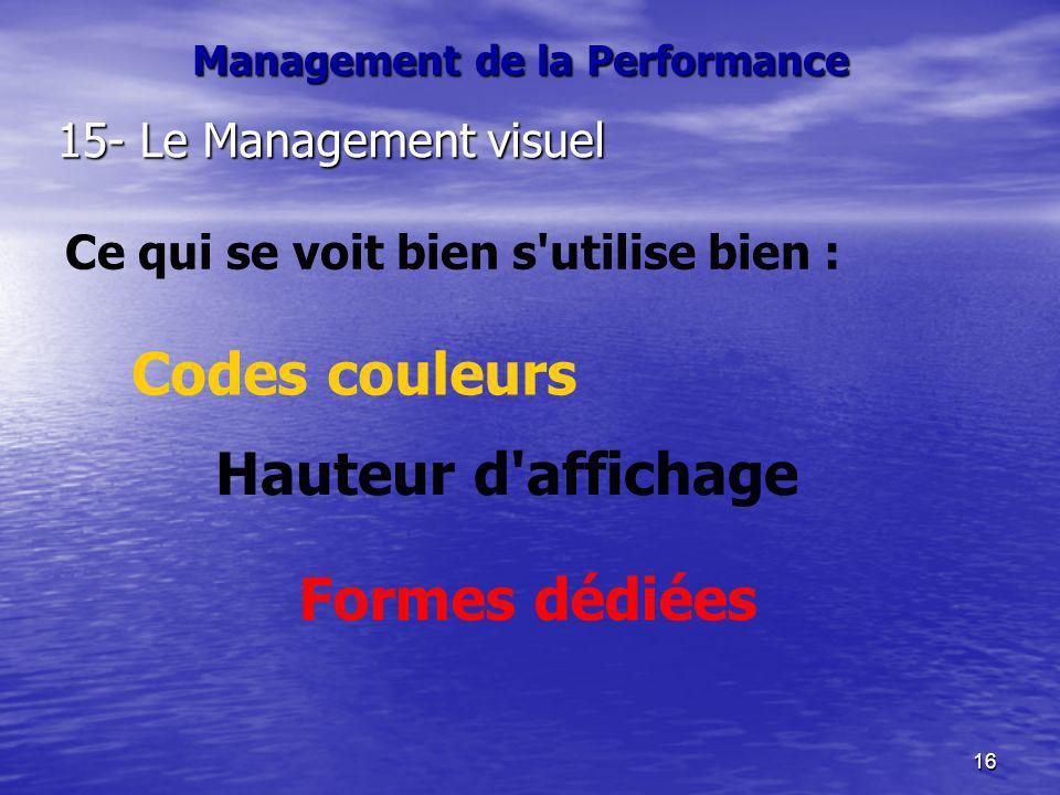 16 Management de la Performance 15- Le Management visuel Ce qui se voit bien s'utilise bien : Codes couleurs Hauteur d'affichage Formes dédiées