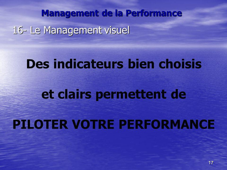 17 16- Le Management visuel Des indicateurs bien choisis et clairs permettent de PILOTER VOTRE PERFORMANCE Management de la Performance