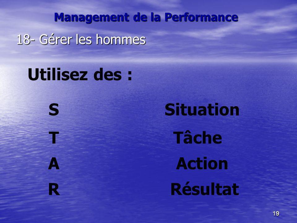 19 18- Gérer les hommes Situation Utilisez des : S Action TâcheT A RRésultat Management de la Performance