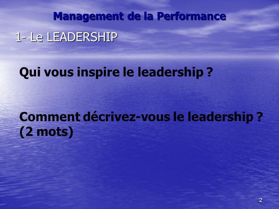 2 Management de la Performance 1- Le LEADERSHIP Qui vous inspire le leadership ? Comment décrivez-vous le leadership ? (2 mots)