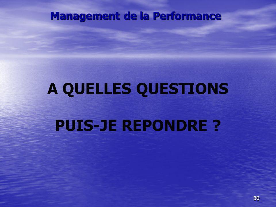 30 A QUELLES QUESTIONS PUIS-JE REPONDRE ? Management de la Performance