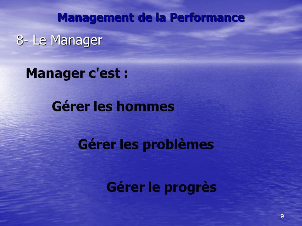 9 Management de la Performance 8- Le Manager Manager c'est : Gérer les problèmes Gérer les hommes Gérer le progrès
