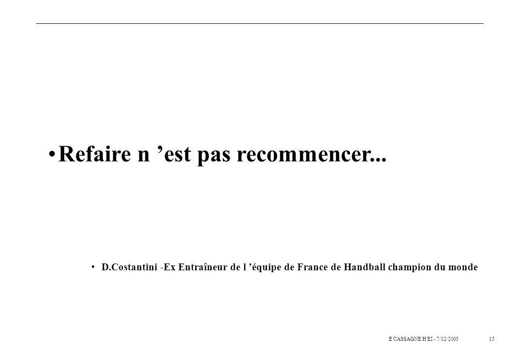 15E CASSAGNE H EI - 7/12/2005 Refaire n est pas recommencer...