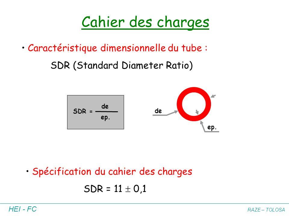 HEI - FC RAZE – TOLOSA Cahier des charges Caractéristique dimensionnelle du tube : SDR (Standard Diameter Ratio) SDR = de ep. de ep. Spécification du