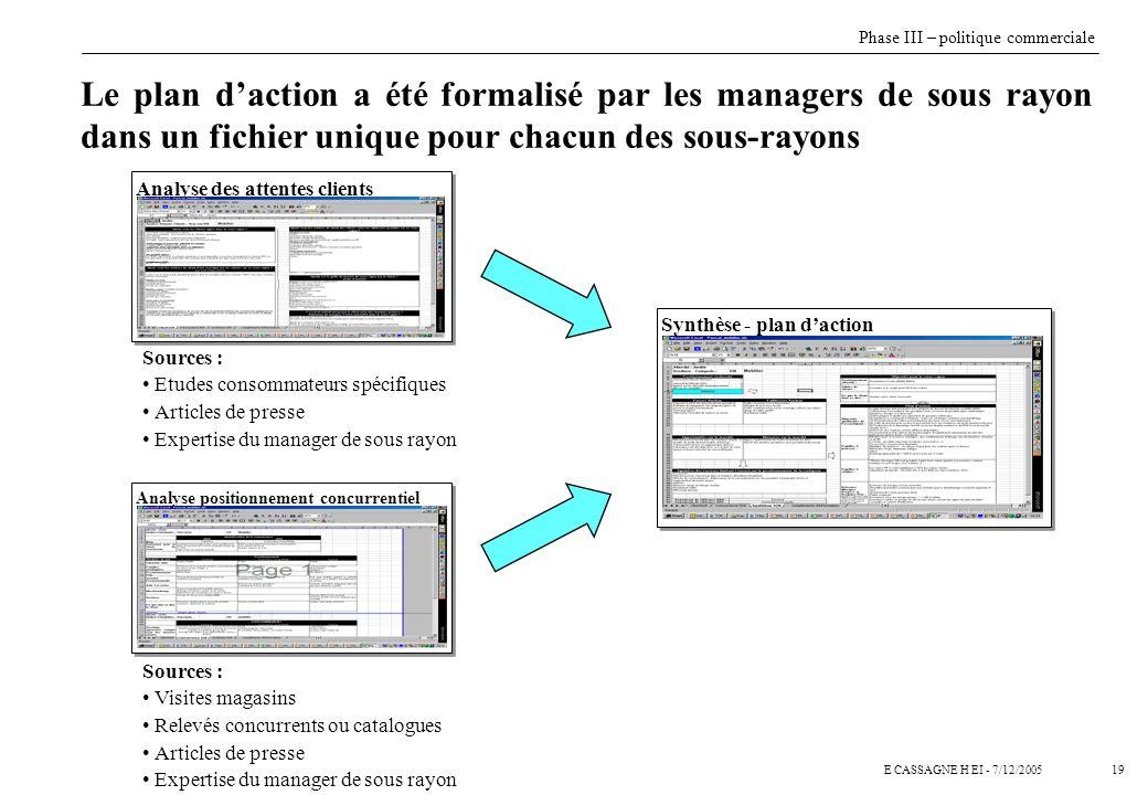 19E CASSAGNE H EI - 7/12/2005 Le plan daction a été formalisé par les managers de sous rayon dans un fichier unique pour chacun des sous-rayons Analys