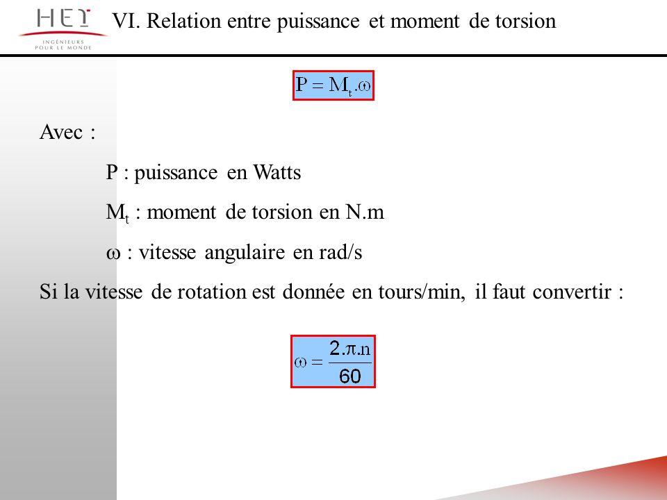 VI. Relation entre puissance et moment de torsion Avec : P : puissance en Watts M t : moment de torsion en N.m : vitesse angulaire en rad/s Si la vite