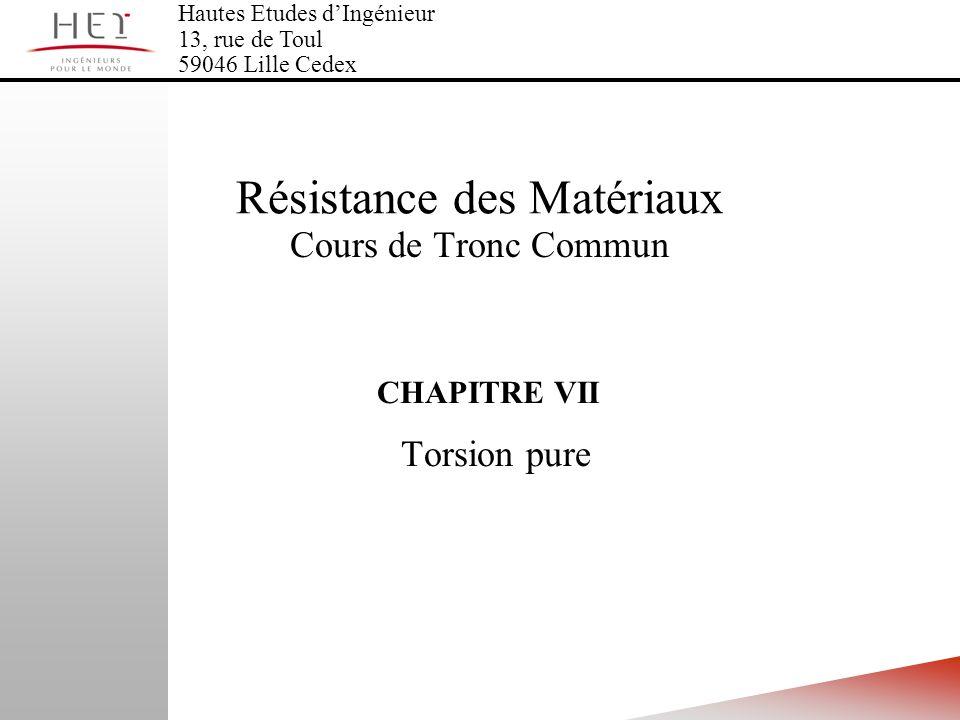 CHAPITRE VII Torsion pure Hautes Etudes dIngénieur 13, rue de Toul 59046 Lille Cedex Résistance des Matériaux Cours de Tronc Commun