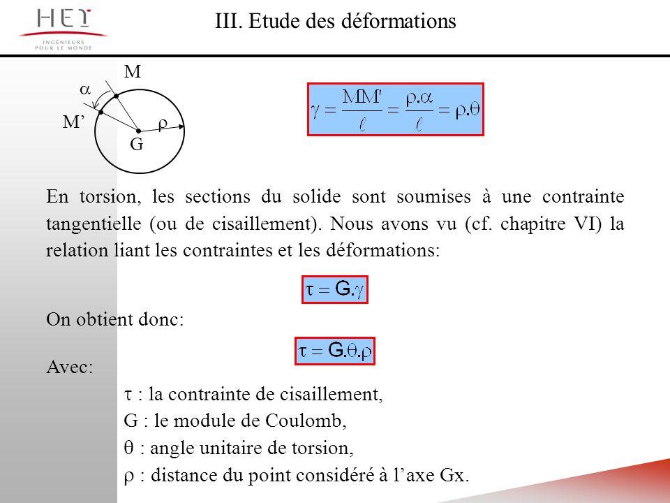 En torsion, les sections du solide sont soumises à une contrainte tangentielle (ou de cisaillement). Nous avons vu (cf. chapitre VI) la relation liant