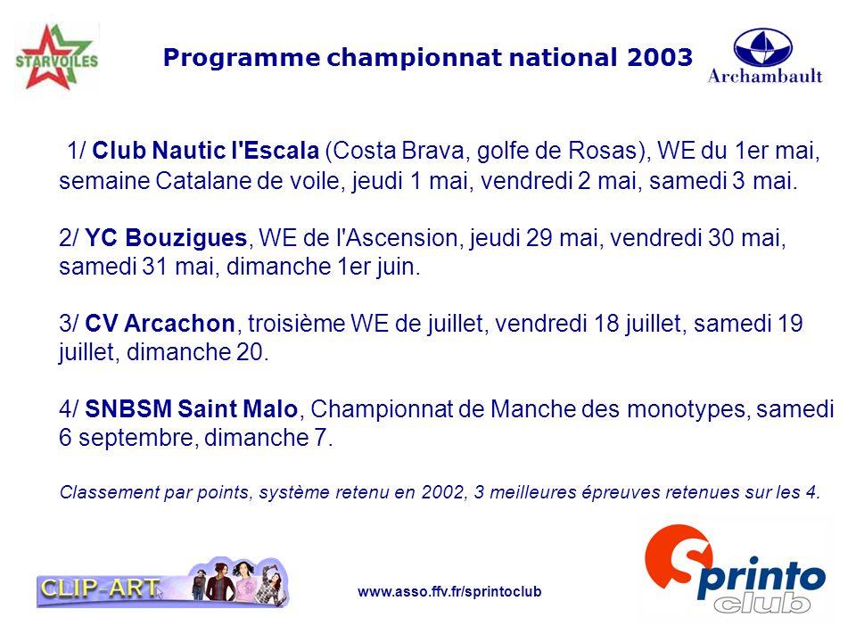 www.asso.ffv.fr/sprintoclub Programme championnat national 2003 1/ Club Nautic l'Escala (Costa Brava, golfe de Rosas), WE du 1er mai, semaine Catalane