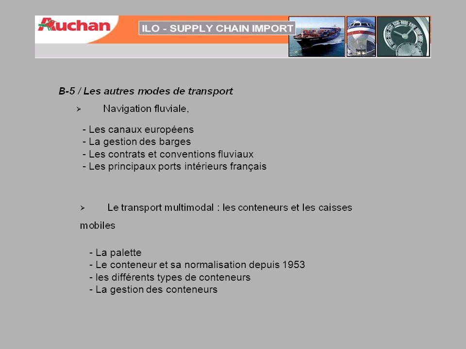 - Les canaux européens - La gestion des barges - Les contrats et conventions fluviaux - Les principaux ports intérieurs français - La palette - Le con