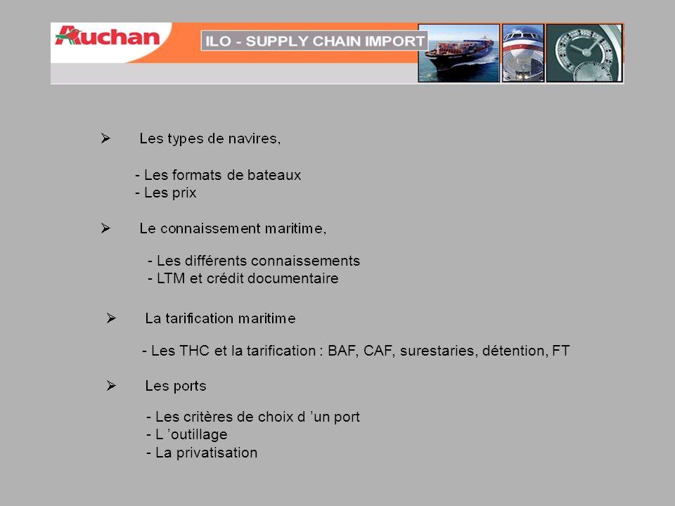 - Les formats de bateaux - Les prix - Les différents connaissements - LTM et crédit documentaire - Les THC et la tarification : BAF, CAF, surestaries,