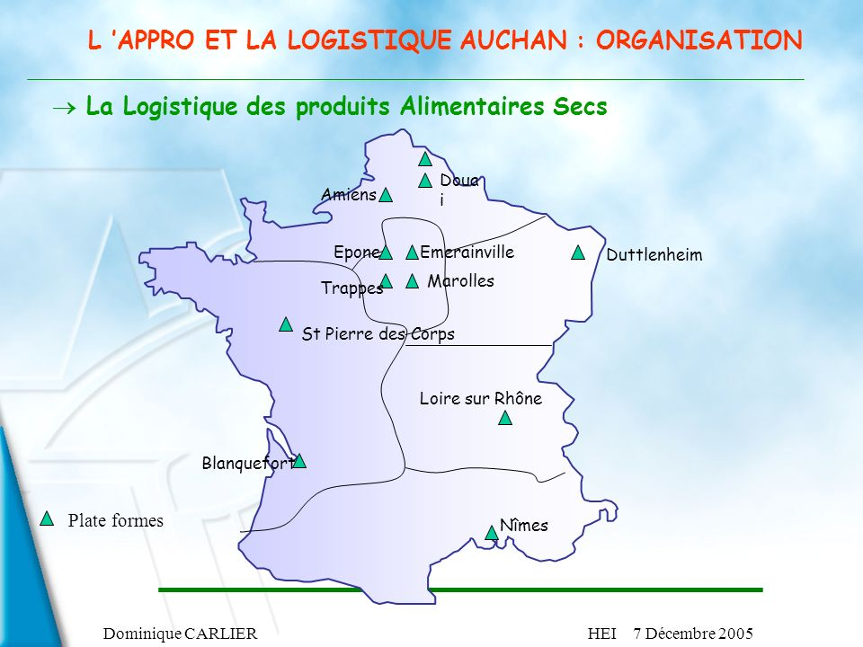 Dominique CARLIERHEI 7 Décembre 2005 La Logistique des produits Alimentaires Secs Duttlenheim Blanquefort Loire sur Rhône Nîmes St Pierre des Corps Pl