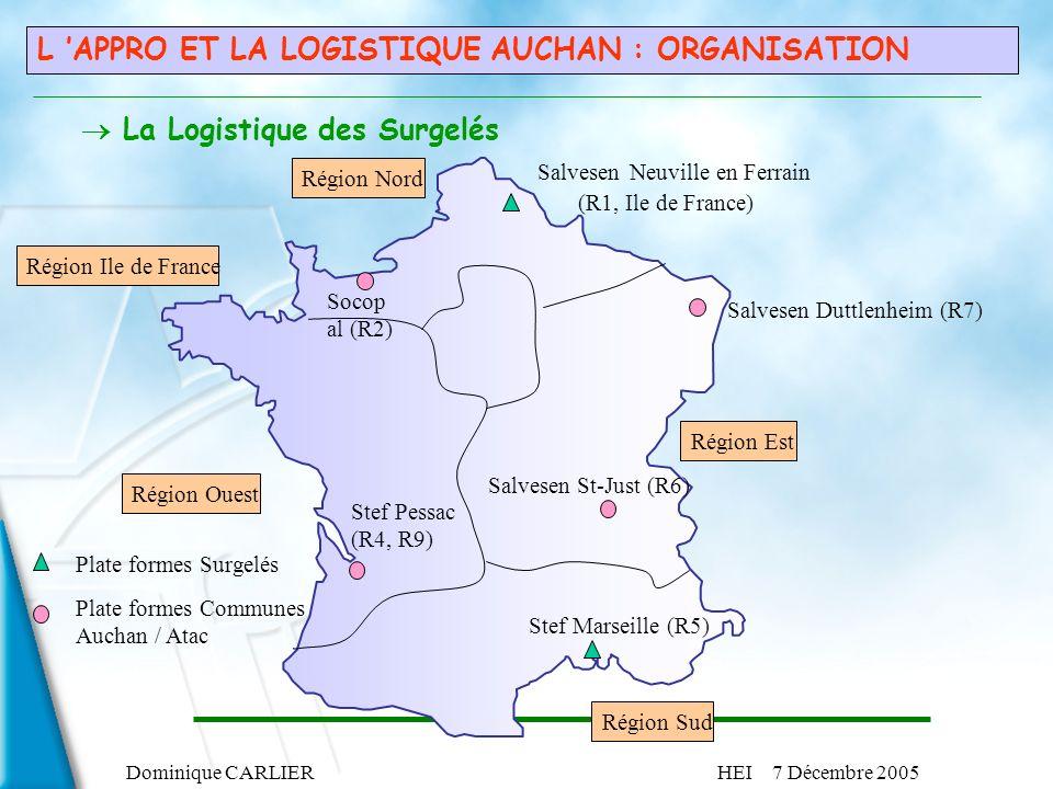 Dominique CARLIERHEI 7 Décembre 2005 L APPRO ET LA LOGISTIQUE AUCHAN : ORGANISATION Salvesen Neuville en Ferrain (R1, Ile de France) Région Nord Salve
