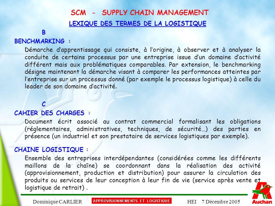 Dominique CARLIERHEI 7 Décembre 2005 SCM - SUPPLY CHAIN MANAGEMENT LEXIQUE DES TERMES DE LA LOGISTIQUE B : BENCHMARKING : D Démarche dapprentissage qu