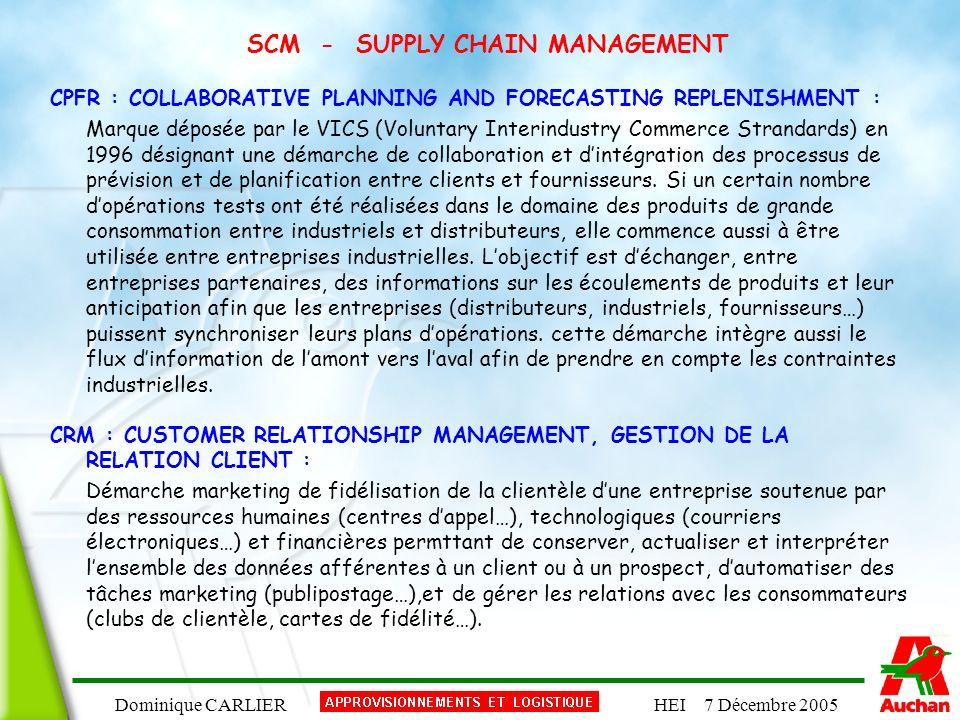 Dominique CARLIERHEI 7 Décembre 2005 SCM - SUPPLY CHAIN MANAGEMENT CPFR : COLLABORATIVE PLANNING AND FORECASTING REPLENISHMENT : Marque déposée par le