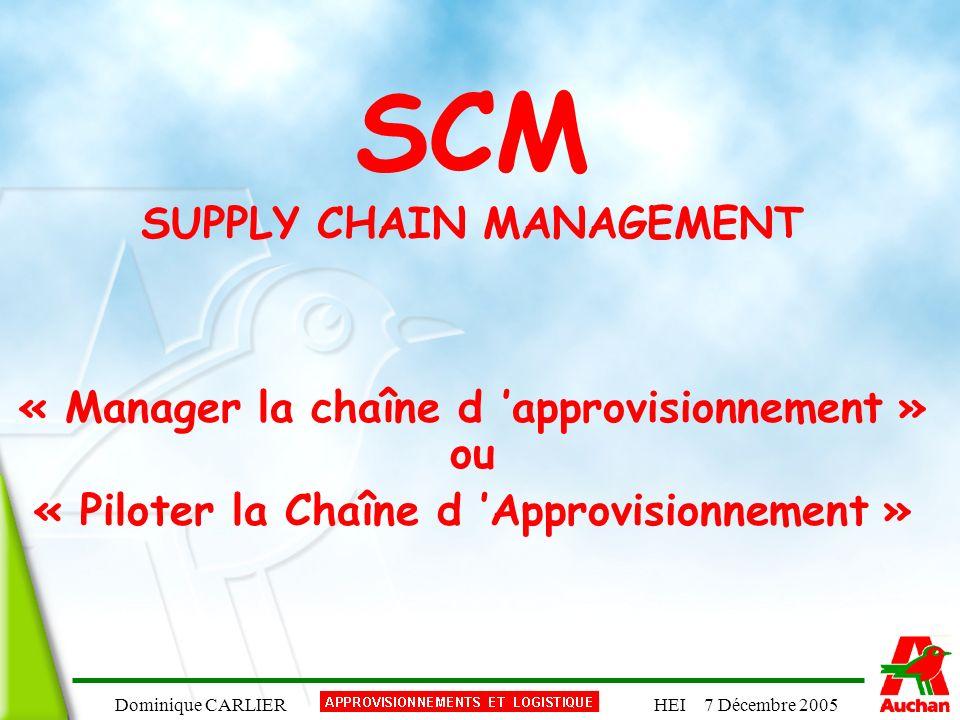 Dominique CARLIERHEI 7 Décembre 2005 SCM SUPPLY CHAIN MANAGEMENT « Manager la chaîne d approvisionnement » ou « Piloter la Chaîne d Approvisionnement