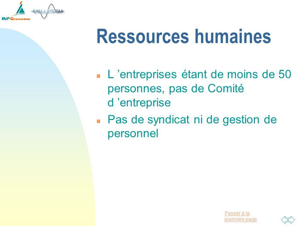 Passer à la première page Ressources humaines n L entreprises étant de moins de 50 personnes, pas de Comité d entreprise n Pas de syndicat ni de gesti