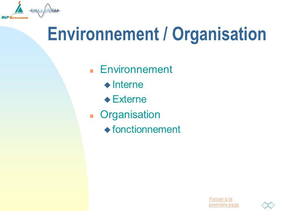 Passer à la première page Environnement / Organisation n Environnement u Interne u Externe n Organisation u fonctionnement