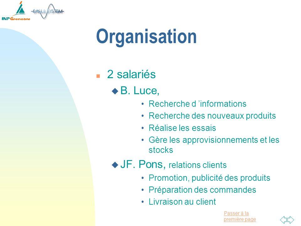 Passer à la première page Organisation n 2 salariés u B. Luce, Recherche d informations Recherche des nouveaux produits Réalise les essais Gère les ap