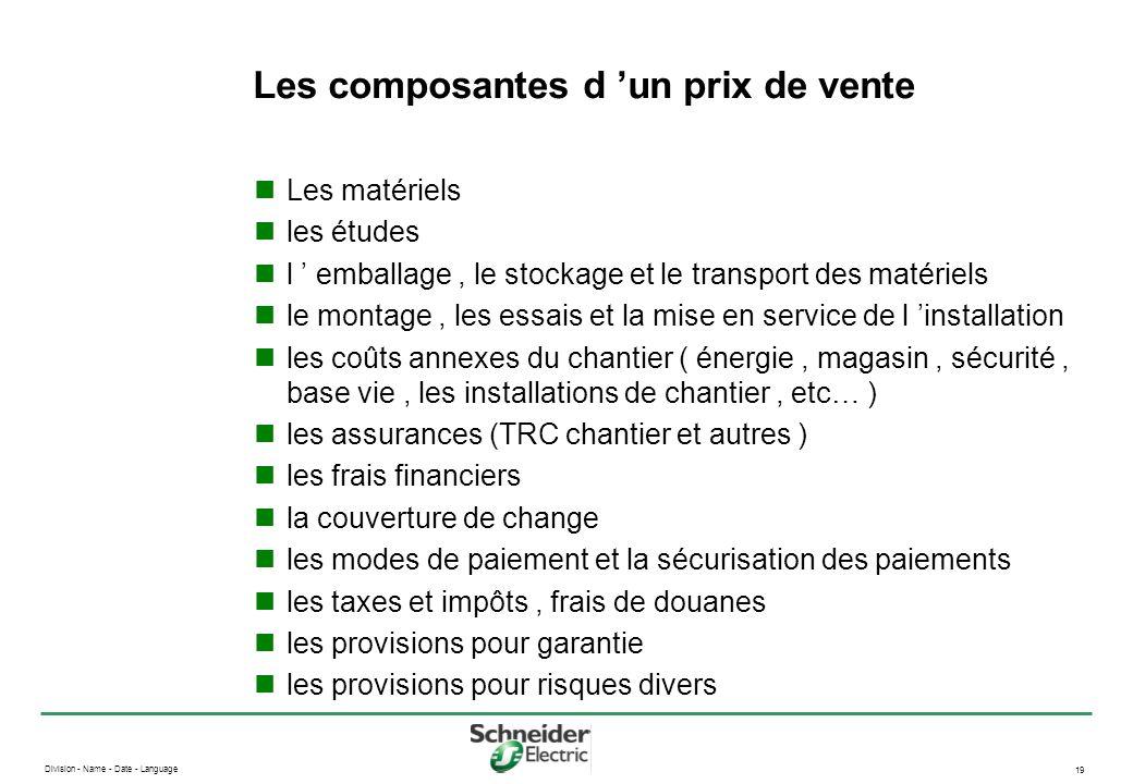 Division - Name - Date - Language 19 Les composantes d un prix de vente Les matériels les études l emballage, le stockage et le transport des matériel