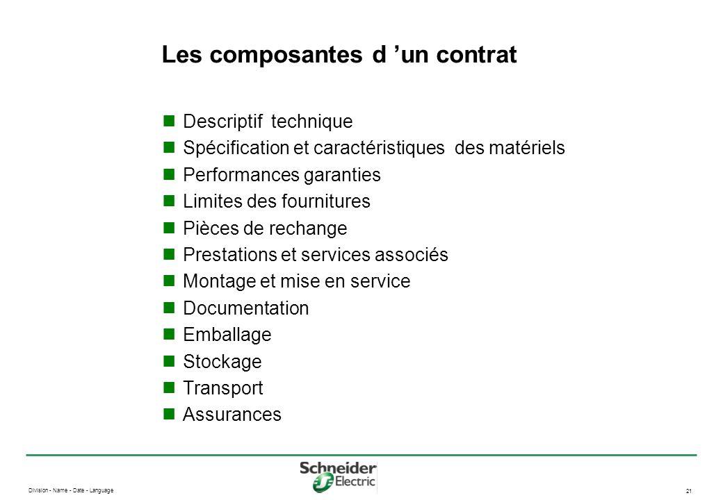 Division - Name - Date - Language 21 Les composantes d un contrat Descriptif technique Spécification et caractéristiques des matériels Performances ga