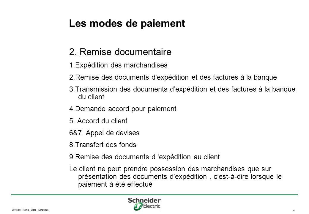 Division - Name - Date - Language 4 Les modes de paiement 2. Remise documentaire 1.Expédition des marchandises 2.Remise des documents dexpédition et d