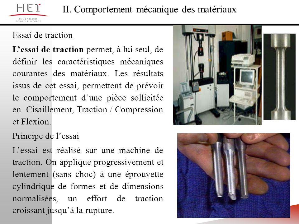 II. Comportement mécanique des matériaux Essai de traction Lessai de traction permet, à lui seul, de définir les caractéristiques mécaniques courantes