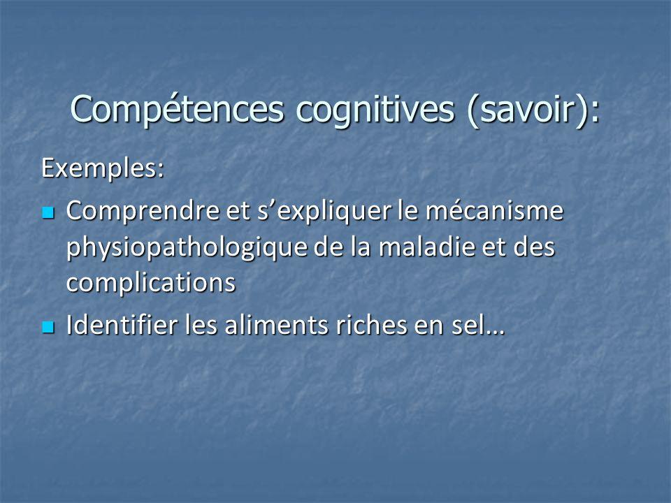 Compétences cognitives (savoir): Exemples: Comprendre et sexpliquer le mécanisme physiopathologique de la maladie et des complications Comprendre et s