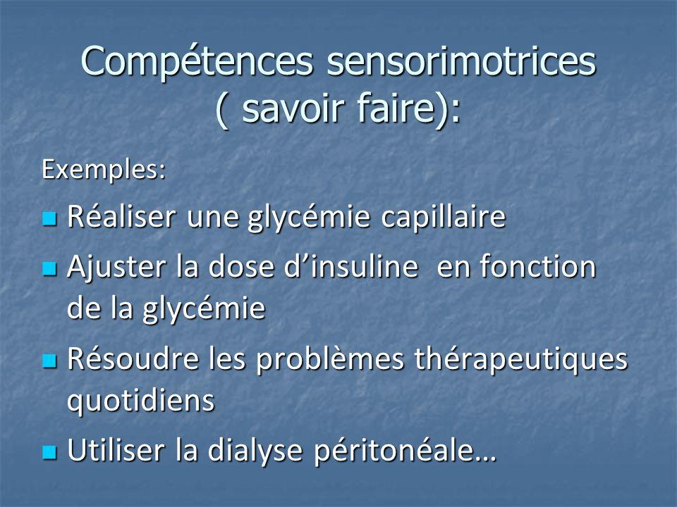 Compétences sensorimotrices ( savoir faire): Exemples: Réaliser une glycémie capillaire Réaliser une glycémie capillaire Ajuster la dose dinsuline en