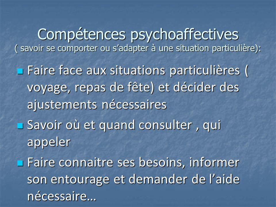 Compétences psychoaffectives ( savoir se comporter ou sadapter à une situation particulière): Faire face aux situations particulières ( voyage, repas