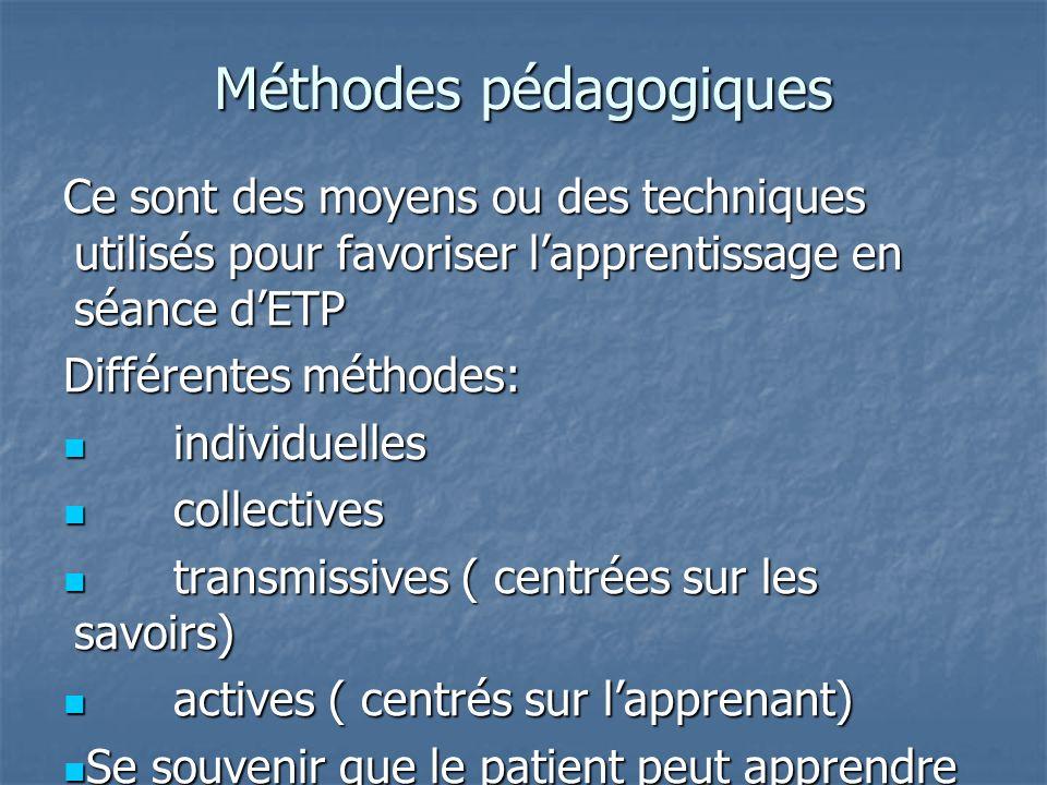 Méthodes pédagogiques Ce sont des moyens ou des techniques utilisés pour favoriser lapprentissage en séance dETP Différentes méthodes: individuelles i