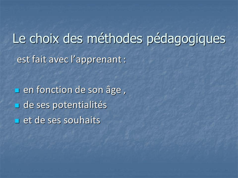 Le choix des méthodes pédagogiques est fait avec lapprenant : est fait avec lapprenant : en fonction de son âge, en fonction de son âge, de ses potent
