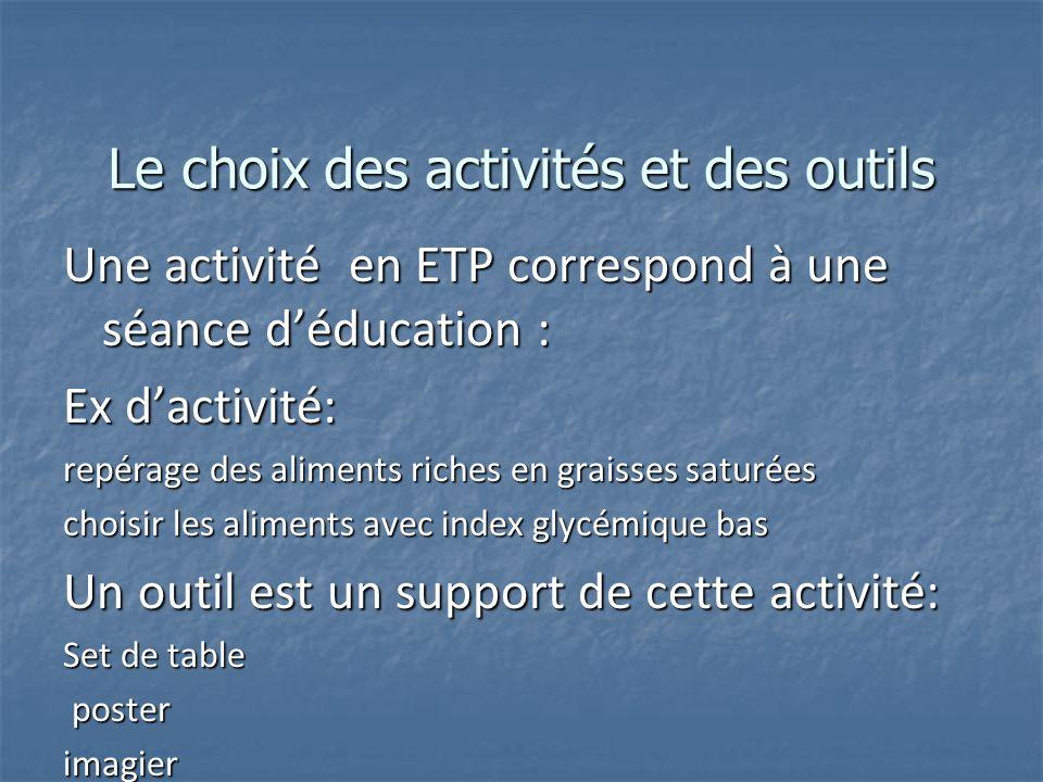 Le choix des activités et des outils Une activité en ETP correspond à une séance déducation : Ex dactivité: repérage des aliments riches en graisses s