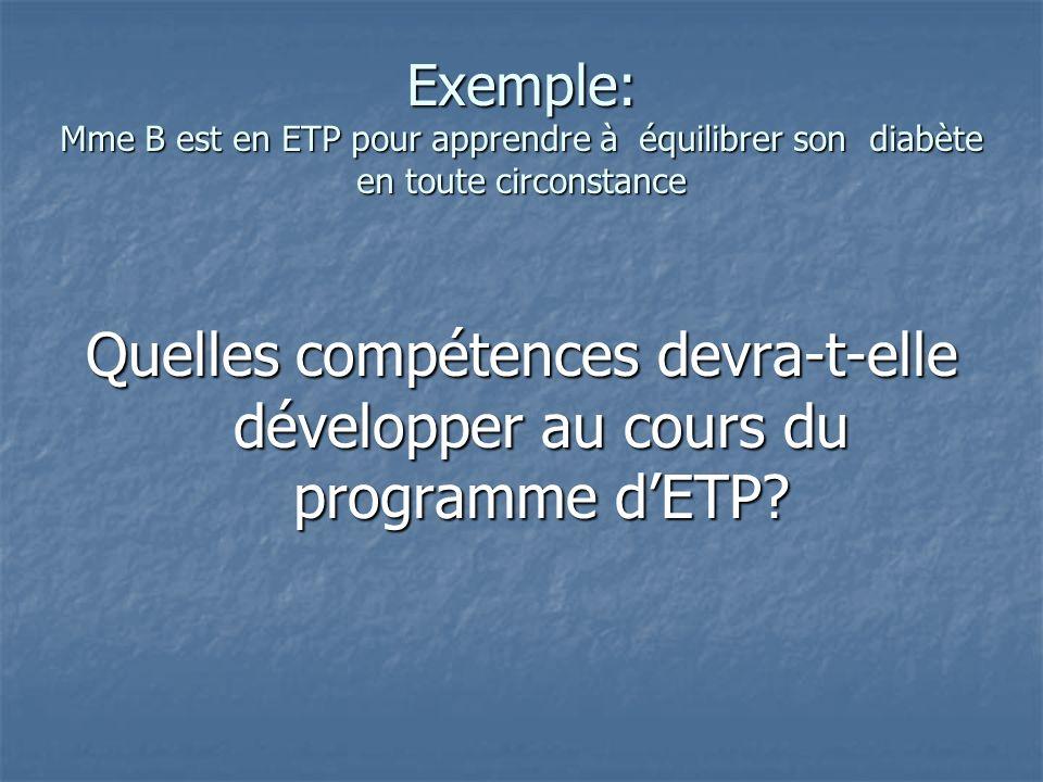 Exemple: Mme B est en ETP pour apprendre à équilibrer son diabète en toute circonstance Quelles compétences devra-t-elle développer au cours du progra