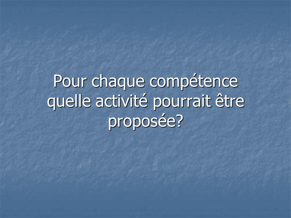 Pour chaque compétence quelle activité pourrait être proposée?