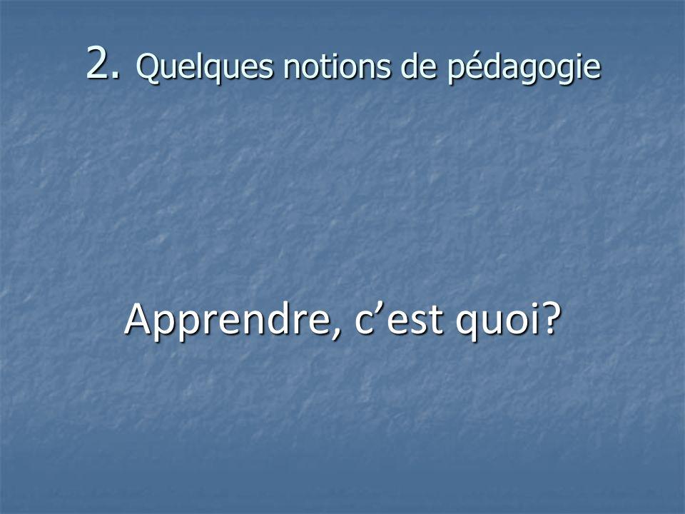 2. Quelques notions de pédagogie Apprendre, cest quoi?