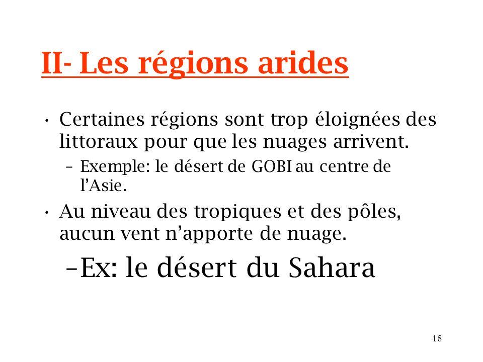 17 II- Les régions arides Certaines régions sont trop éloignées des littoraux pour que les nuages arrivent. –Exemple: le désert de GOBI au centre de l